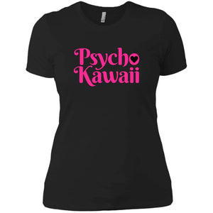 CustomCat T-Shirts Black / X-Small Psycho Kawaii hot pink 829-8316-78264421-39528