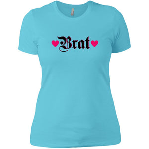 CustomCat T-Shirts Cancun / X-Small Brat Black w Hot Pink Hearts 829-10890-78264372-52911