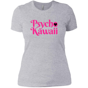 CustomCat T-Shirts Heather Grey / X-Small Psycho Kawaii hot pink 829-8317-78264421-39540