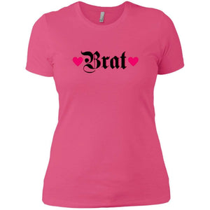 CustomCat T-Shirts Hot Pink / X-Small Brat Black w Hot Pink Hearts 829-8319-78264372-39576