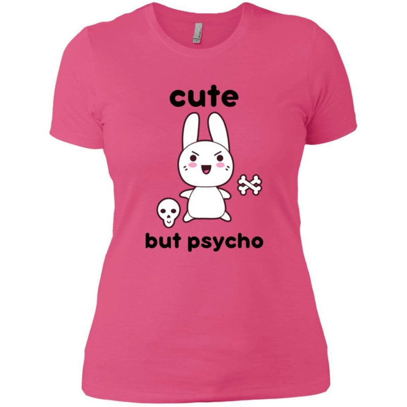 CustomCat T-Shirts Hot Pink / X-Small cute but psycho goth bunny 829-8319-78264383-39576