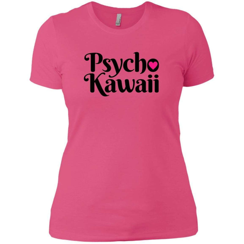 CustomCat T-Shirts Hot Pink / X-Small Psycho Kawaii Black 829-8319-78264377-39576