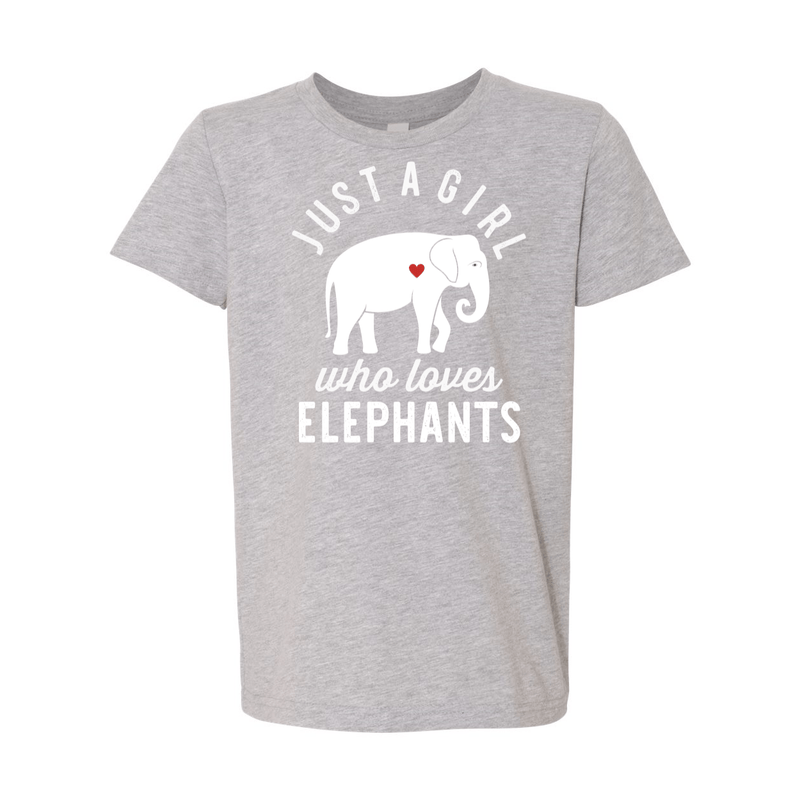 Print Melon Inc. T-Shirts S / Athletic Heather girl loves elephants youth 488523