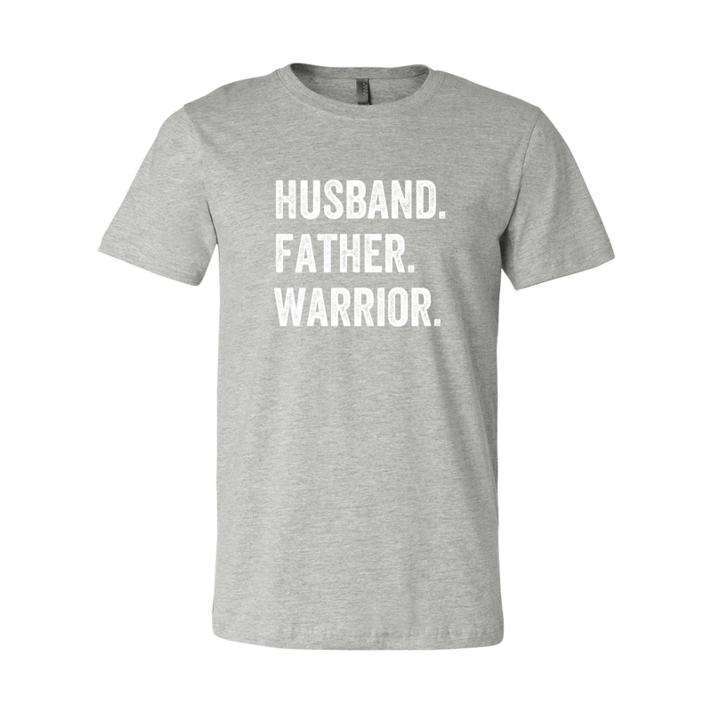 Print Melon Inc. T-Shirts S / Athletic Heather husband father warrior print melon 104123