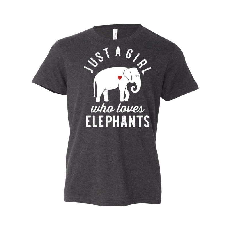 Print Melon Inc. T-Shirts S / Dark Grey Heather girl loves elephants youth 488527