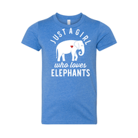 Print Melon Inc. T-Shirts S / Heather Columbia Blue girl loves elephants youth 488526