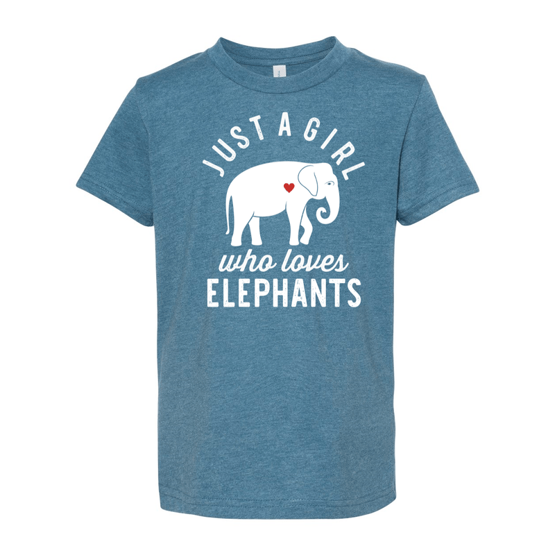 Print Melon Inc. T-Shirts S / Heather Deep Teal girl loves elephants youth 488519