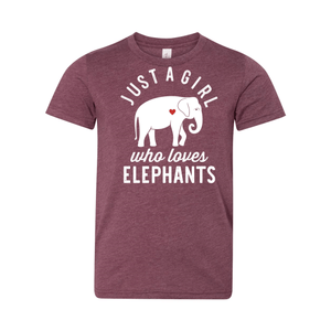 Print Melon Inc. T-Shirts S / Heather Maroon girl loves elephants youth 488521