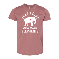 Print Melon Inc. T-Shirts S / Heather Mauve girl loves elephants youth 488524