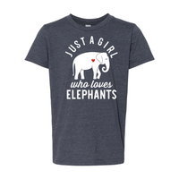 Print Melon Inc. T-Shirts S / Heather Navy girl loves elephants youth 488528
