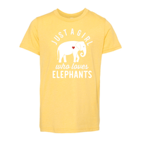 Print Melon Inc. T-Shirts S / Heather Yellow Gold girl loves elephants youth 488518