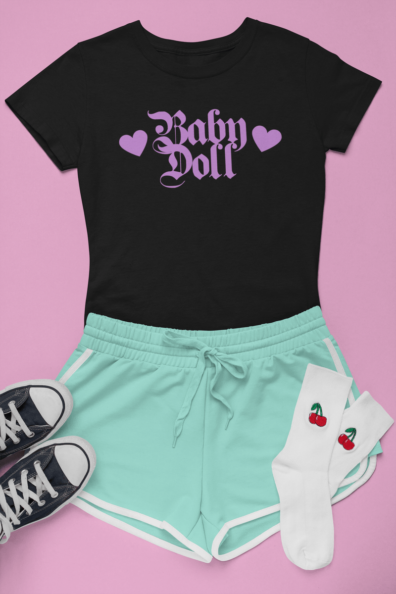 CustomCat T-Shirts The Baby Doll Tee in Violet Love