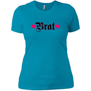 CustomCat T-Shirts Turquoise / X-Small Brat Black w Hot Pink Hearts 829-8328-78264372-39612