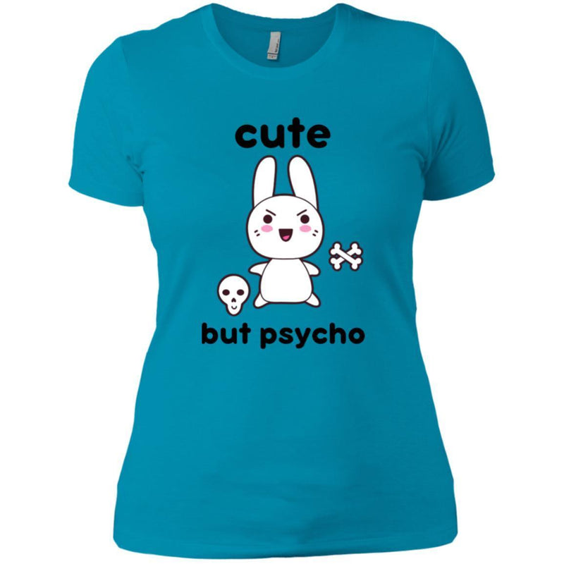 CustomCat T-Shirts Turquoise / X-Small cute but psycho goth bunny 829-8328-78264383-39612