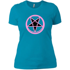 CustomCat T-Shirts Turquoise / X-Small Pink pentagram 829-8328-78264387-39612
