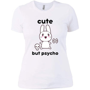 CustomCat T-Shirts White / X-Small cute but psycho goth bunny 829-8331-78264383-39618