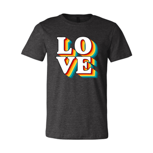 Print Melon Inc. T-Shirts XS / Dark Grey Heather love retro 247587