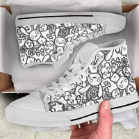 So Kawaii Shop The Black & White Goth Bunny Dark High Sneaker