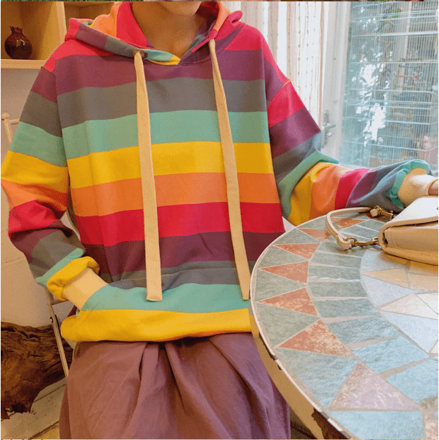 So Kawaii Shop The Kawaii Harajuku Rainbow Stripe Pullover Hoodie
