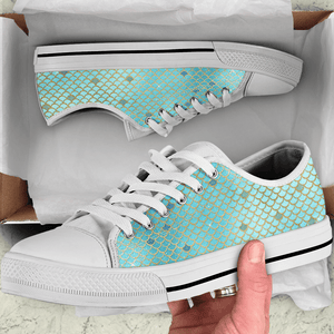 So Kawaii Shop The Kawaii Mermaid Scales Low Top in Blue & Silver