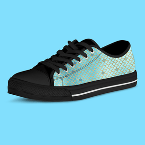 So Kawaii Shop The Kawaii Mermaid Scales Low Top Sneaker in Blue & Silver
