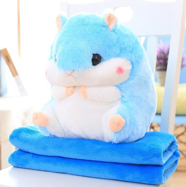 So Kawaii Shop Toy50cm Blank1.6m / Blue Hamster Pillow Plush with Matching Fluffy Blanket 25772398-toy50cm-blank1-6m-blue