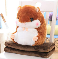 So Kawaii Shop Toy50cm Blank1.6m / Dark Brown Hamster Pillow Plush with Matching Fluffy Blanket 25772398-toy50cm-blank1-6m-dark-brown