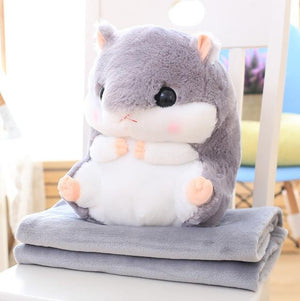 So Kawaii Shop Toy50cm Blank1.6m / Gray Hamster Pillow Plush with Matching Fluffy Blanket 25772398-toy50cm-blank1-6m-gray