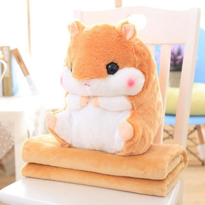 So Kawaii Shop Toy50cm Blank1.6m / Light Brown Hamster Pillow Plush with Matching Fluffy Blanket 25772398-toy50cm-blank1-6m-light-brown
