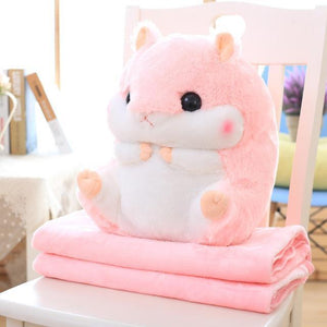 So Kawaii Shop Toy50cm Blank1.6m / Pink Hamster Pillow Plush with Matching Fluffy Blanket 25772398-toy50cm-blank1-6m-pink