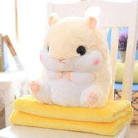 So Kawaii Shop Toy50cm Blank1.6m / Yellow Hamster Pillow Plush with Matching Fluffy Blanket 25772398-toy50cm-blank1-6m-yellow