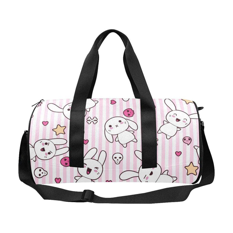 interestprint Travel Bags One Size The Kawaii Goth Bunny Pink Stripes Duffel D1317604