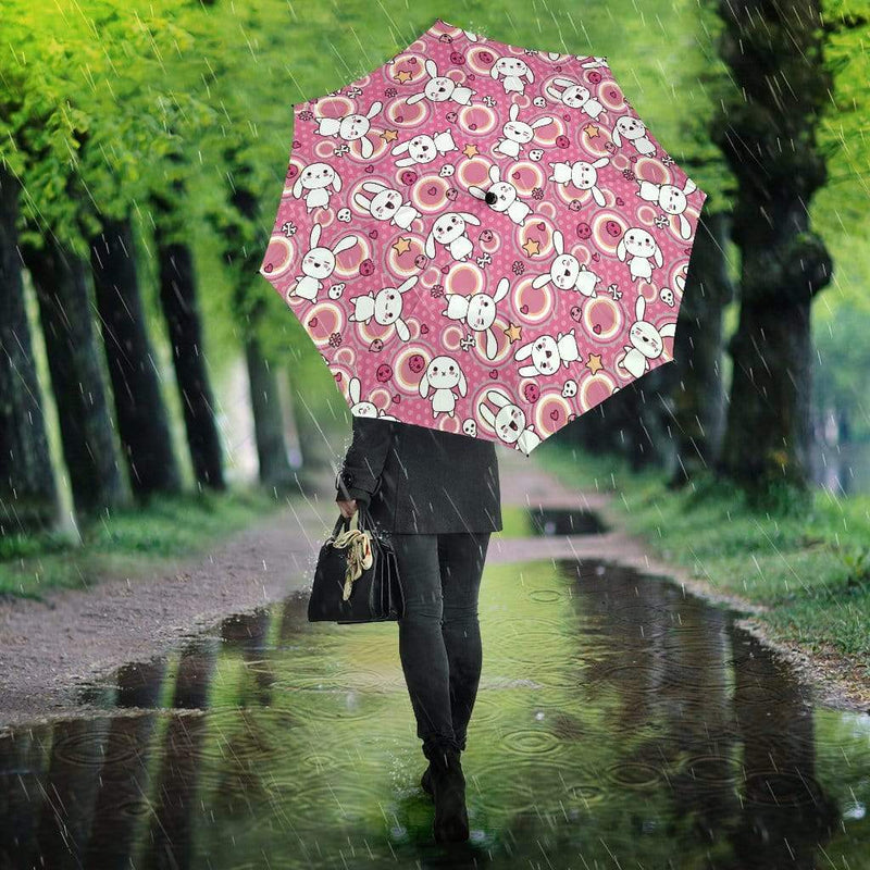 Kawaii Goth Bunny Pink Circles Umbrella
