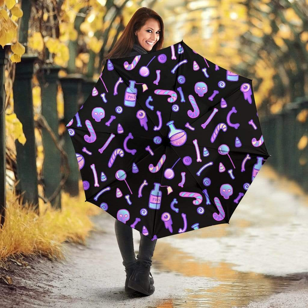 So Kawaii Shop Umbrella - Kawaii Goth Potions & Poisons Umbrella / One Size Kawaii Goth Potions & Poisons Umbrella PP.14289511