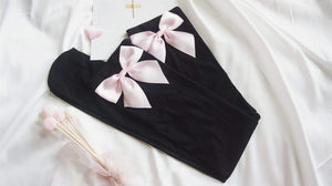 So Kawaii Shop Velvet Bow Thigh High Stockings