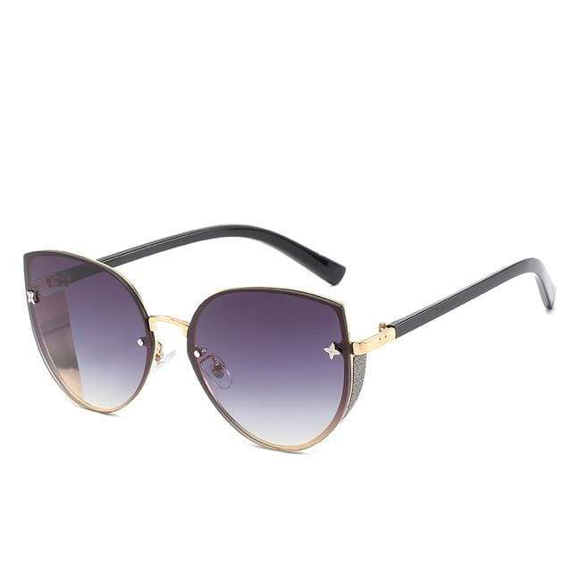 So Kawaii Shop violet to black The Cute Vintage Cat Eye Sunglasses 24657442-2