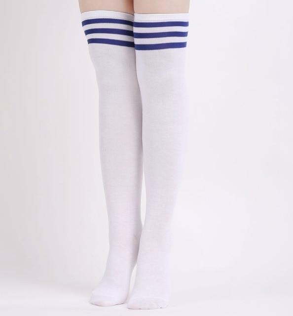 So Kawaii Shop white blue Stripe Kawaii Stripe Thigh High Stockings 24508788-white-blue-stripe