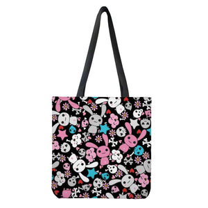 So Kawaii Shop White / One Size / Universal Black n Blue Goth Bunny Shopping Tote Cloth Tote Bags L04ZK-1