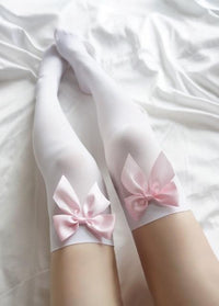 So Kawaii Shop White Pink Bow / One Size Velvet Bow Thigh High Stockings 27092871-white-pink-bow-one-size