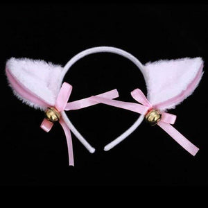 So Kawaii Shop WHITE Plush Cat/Fox Faux Furry Ears Hairband 23190332-white
