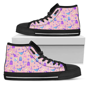 So Kawaii Shop Womens High Top - Black - Batty Pink / US5.5 (EU36) The Kawaii Feeling a Little Batty Dark High Top Sneaker PP.14233441