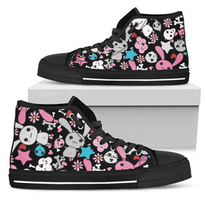 So Kawaii Shop Womens High Top - Black - Black / US5.5 (EU36) The Kawaii Black & Blue Goth Bunny High Top PP.14417436