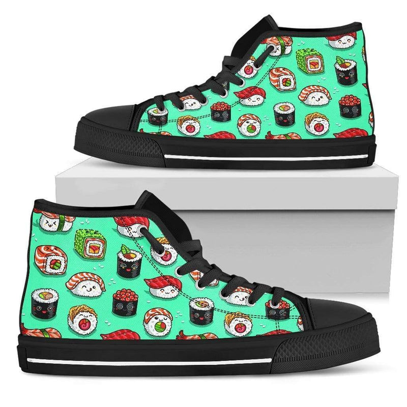 So Kawaii Shop Womens High Top - Black - Black / US5.5 (EU36) The Kawaii Sushi Print in Mint High Top Sneaker PP.14524843