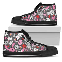 So Kawaii Shop Womens High Top - Black - Kawaii Goth Bunny Grey Print Dark High Sneaker / US5.5 (EU36) Kawaii Goth Bunny Grey Print High Top Sneaker PP.12308621