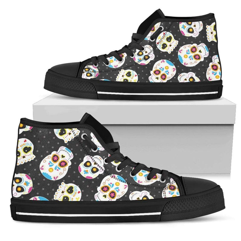 So Kawaii Shop Womens High Top - Black - Kawaii Sugar Skulls Sneaker / US5.5 (EU36) The Kawaii Sugar Skulls Sneaker PP.14496513