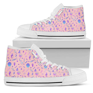 So Kawaii Shop Womens High Top - White - Babygirl Pink / US5.5 (EU36) The Kawaii Goth Skulls & Fishbones Sneaker PP.14297836