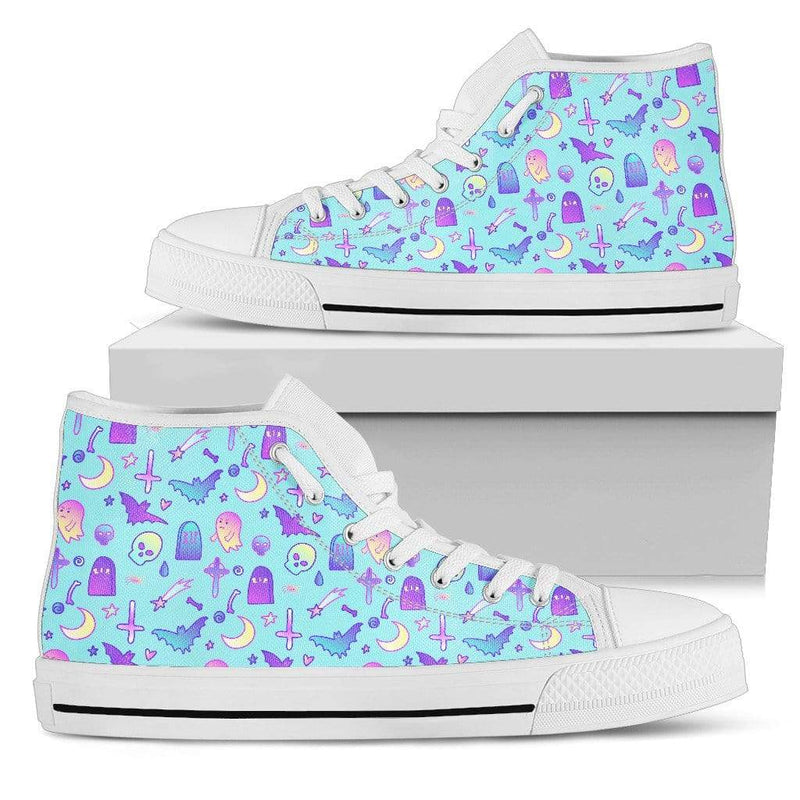 So Kawaii Shop Womens High Top - White - Feeling a Little Batty Light High Top Baby Blue / US5.5 (EU36) Feeling a Little Batty Light High Top Sneaker PP.14231732