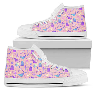 So Kawaii Shop Womens High Top - White - Feeling a Little Batty Light High Top Pink / US5.5 (EU36) Feeling a Little Batty Light High Top Sneaker PP.14231754