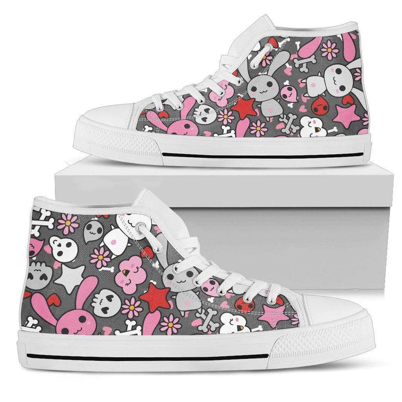 So Kawaii Shop Womens High Top - White - Kawaii Goth Bunny Grey Print Light High Sneaker / US5.5 (EU36) Kawaii Goth Bunny Grey Print High Top Sneaker PP.12308612