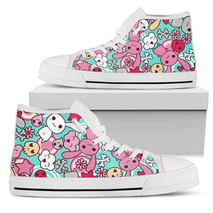 So Kawaii Shop Womens High Top - White - Kawaii Pastel Goth Bunny Blue High Light / US5.5 (EU36) Kawaii Pastel Goth Bunny Blue High Sneaker PP.12309236
